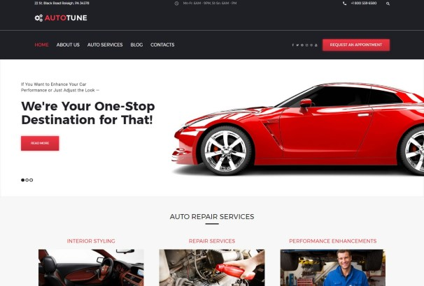 car tuning wordpress template created for car services websites if you need a reliable website that will increase your popularity and sales