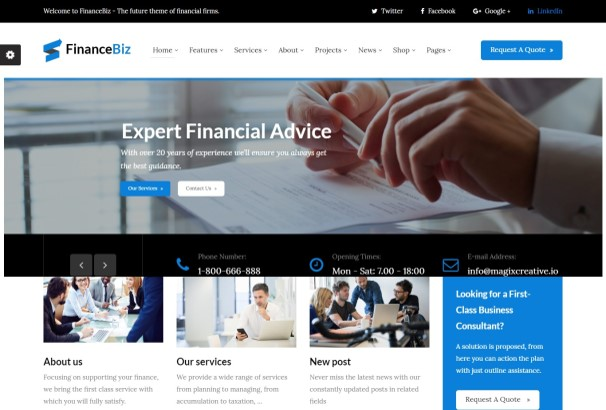 50+ Best Financial Company WordPress Themes 2017