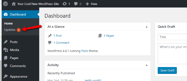 guide to the wordpress admin dashboard