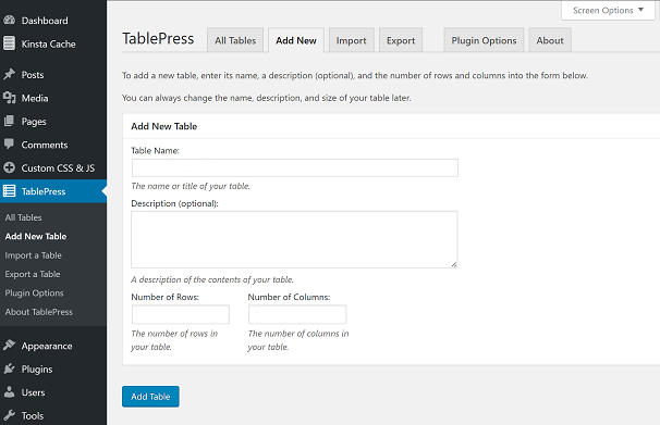 Creating Table with TablePress
