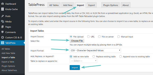 Creating Table with TablePress, Settings