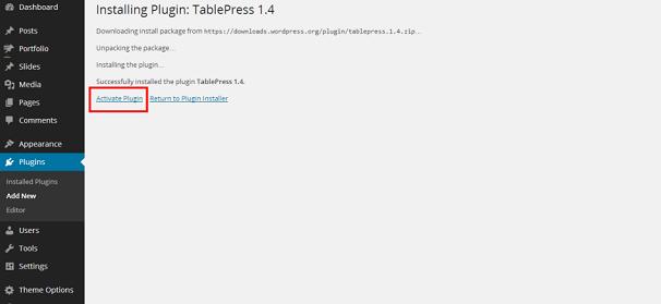 Installing TablePress