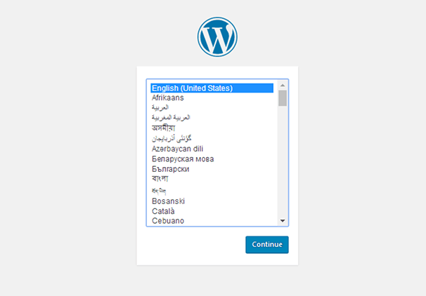 Install WordPress - Choose Language