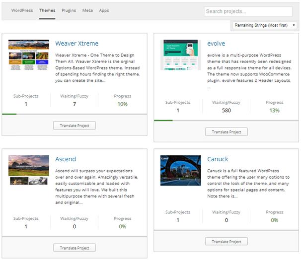 WordPress Themes Translation Progress