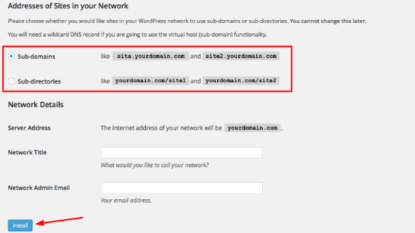 choose type of multisite link structure
